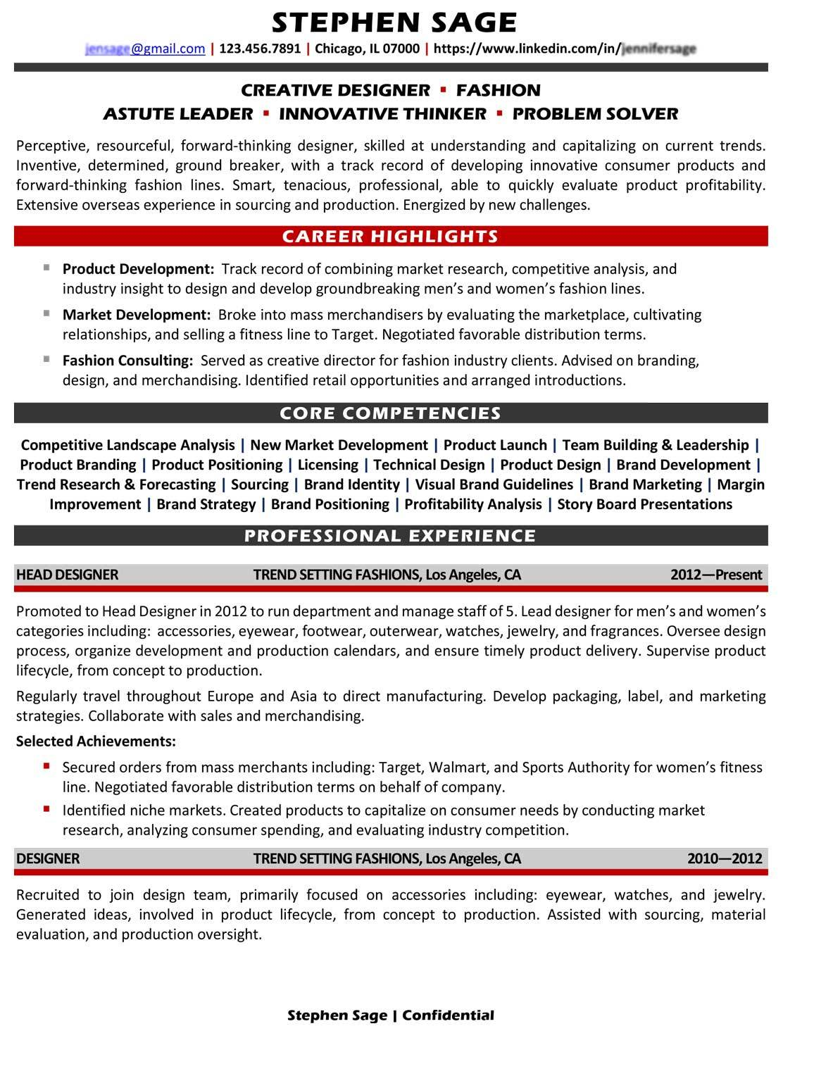 sample branded  executive resumes